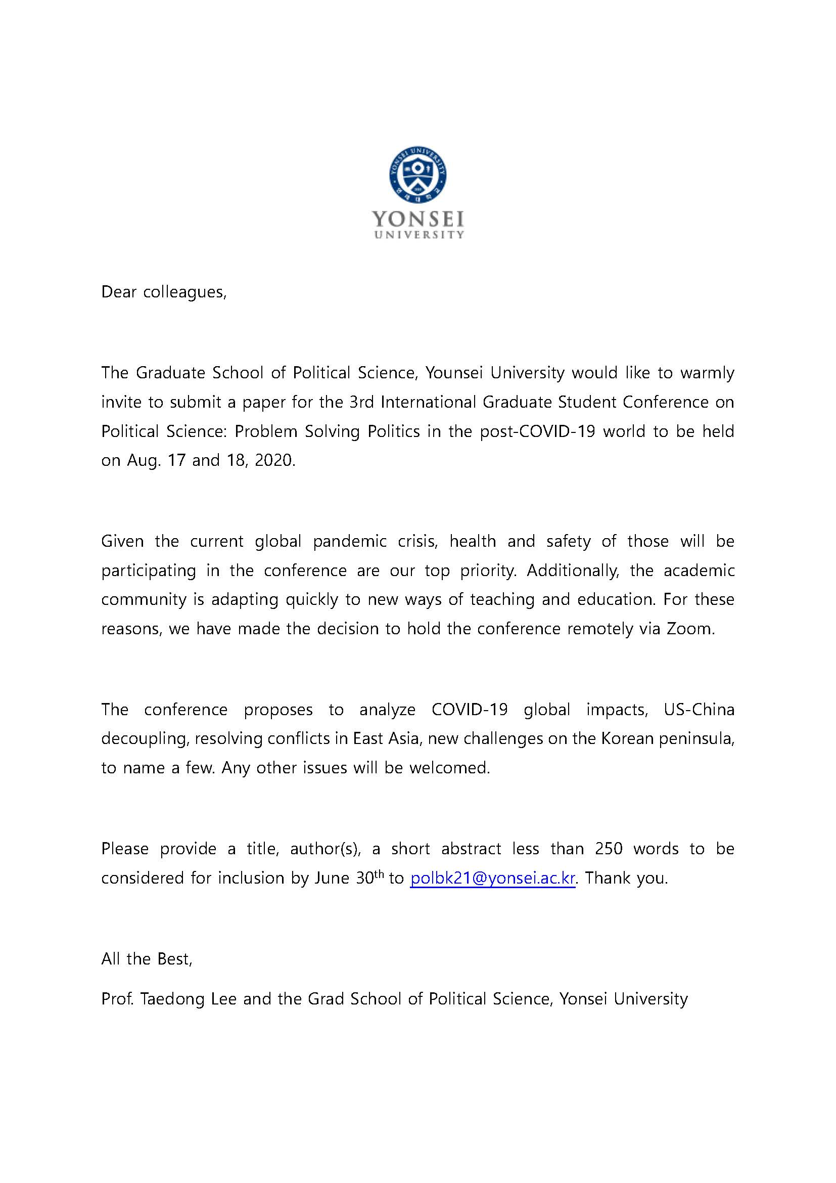Yonsei Univ. invites grad students to apply for the 3rd inte rnational graduate students conference (Webinar)